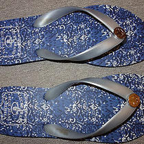 New Women's Lucky Brand Blue / Silver W/ 4 Leaf Clover Flip Flop Sandals- Sz 10m Photo
