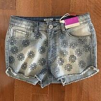 New Women's Mossimo High Waist Blue Jean Short Fringe Bottoms Flowers Jr Size 7 Photo