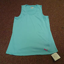 New Women's Puma Ribbed Performance Tank Top Blue Green Medium Dry Cell  Photo