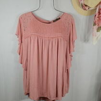 New Women's Rose Blush Boho Flutter Lace Peasant Top Blouse Shirt 3x Nwt Photo