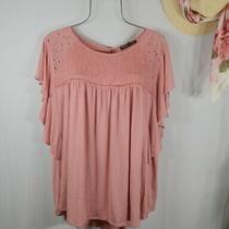 New Women's Rose Blush Boho Flutter Lace Peasant Top Blouse Shirt 1x Nwt Photo