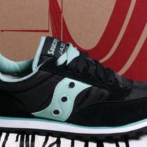 New Women's Saucony Jazz Low Pro Black & Aqua Blue Green Running Shoes Size 5 Photo