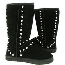 New Women's Size 7m Style & Co. Bolted Studded Black Suede Winter Boot Photo