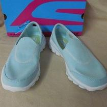 New Women's Sz 7.5m Skechers Mint Green Fresco Gowalk2 Walking Slip on Shoes Photo