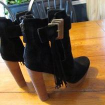 New Women's Sz 8 Nine West Boutique 9 Full-on Black Suede Tassel Booties Boots  Photo