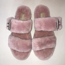New Womens Ugg Australia Fuzz Yeah Fuzzy Slippers Pink Buckle Sandals Size 8 Photo