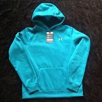 New Women's Under Armour Charged Cotton Storm Fleece Hoody Sweatshirt Aqua Lg Photo