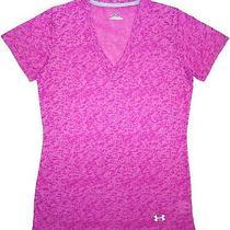 New Women's Under Armour Purple Heatgear v-Neck Shirt Size Sm Small-Yoga Pink  Photo