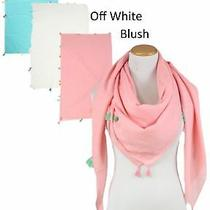 New Women Solid Light Square Scarf With Tassels Soft Shawl Wrap Cozy Blush N01 Photo
