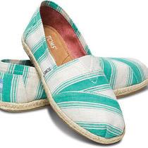 New Women Toms Aqua  Umbrella  Stripes Classics  Shoes Sandals Flats  Sz 8.5 Photo