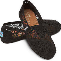 New Women Toms Black Morocco Crochet Classics   Shoes Sandals Flats  Sz  8 Photo