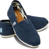 New Women Toms Classics Canvas on Casual Shoes Sandals Flats Navy Sz  5.5 Photo