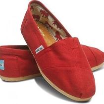 New Women Toms Classics Canvas on Casual Shoes Sandals Flats Red Sz 9 Photo