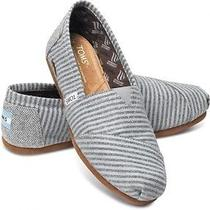 New Women Toms Movember Grey Stripe Wool Sandals Flats  Slip-on Shoes  6 Photo