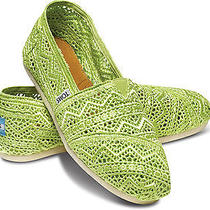 New Women Toms Neon Lime Zig Zag Crochet Classics Sandals Flats Shoe Slip-On8 Photo