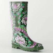 New Womens Aqua Stop Green Paisley Rubber Rainboots Rain Boots 6 Photo