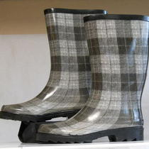 New Womens Aqua Stop Joan Grey Gray Rain Boots  Size 11 Black White Plaid Photo