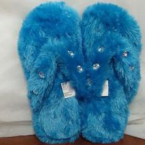 New Womens Aqua Teal Turquoise Furry Fluffy House / Pedicure Slippers Size 9-10 Photo