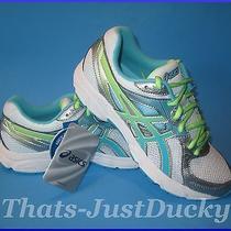 New Womens Asics Gel-Contend 2 T474n-0140 Running Shoe White Turq & Green Sz 7 Photo