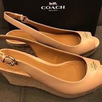 New Womens Coach Ferry Peep Toe Platform Wedge Leather Sandal Beechwood Nude 9.5 Photo
