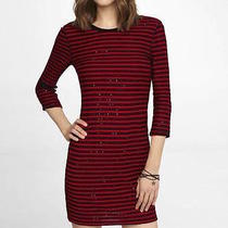 New Womens Express Black and Red Sequin Striped Drop Shoulder Dress Xs Photo
