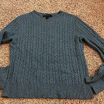 New Womens Express Design Studio Cashmere Blend Cable Knit Blue Sweater L Photo