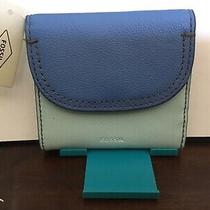 New Womens Fossil Brand Leather Cleo Multifunction Blue Multi Wallet Nwt 64 Photo