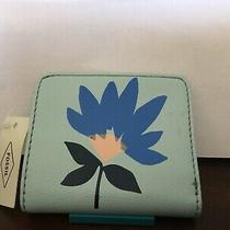 New Womens Fossil Brand Leather Madison Bifold Flower Blue Wallet Nwt 38 Photo