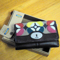 New Womens Fossil Maddox Aplq Multi Wallet Bright Multi Nwt 65 Photo