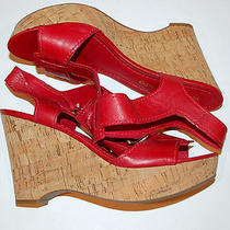 New Womens Franco Sarto Red Wedges Shoes Sandals 9  Photo