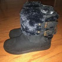 New Womens G by Guess Black Fur Lined Boots 7.5 Ankle Boots 7 1/2 Photo