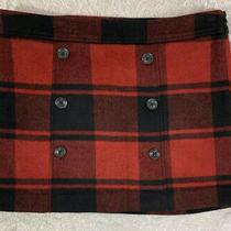 New Womens Gap Mini Skirt Red Black Buffalo Check Plaid Wool Blend Lined Size 12 Photo
