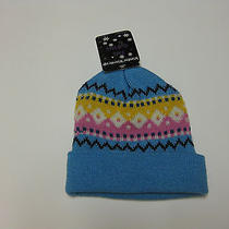 New Womens Girls One Size Beanie Hat Knit Cuff Hat Blue 100% Acrylic by Royal Photo