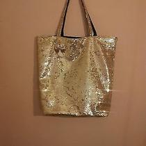 New Womens Girls Victoria's Secret Gold Bling Large Tote Gym School Bag Purse Photo