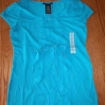 New Womens Gracs Elements Shirt Shortsleeve Ruffle Top Teal Lagoon Blue Small S Photo