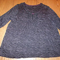 New Womens Kensie Pj Set Pajamas 3/4 Sleeve Shirt Top Long Pants Zebra Black Xl Photo