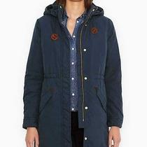 New Womens Large Levi's Fishtail Parka Coat Hooded Cinch Waist  Jacket Blues L Photo