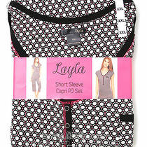 New Womens Layla 2 Piece Capri Pajama Set Short Sleeve Top Black Red Blue Xl Xxl Photo