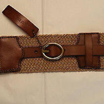 New Womens Linea Pelle Wide Stretch Belt Leather Metallic Gold Sz M/l Photo