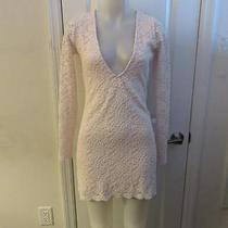 New Womens Nasty Gal Blush Deep Neck Long Sleeve Floral Laced Dress Size M Photo