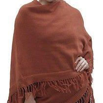 New Womens Natural Alpaca Wool Ruana Poncho Wrap Cape Coat One Sz 4400 Copper Photo