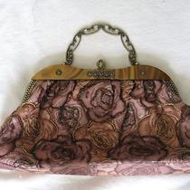 New Womens Purse Handbag Unique Fashion Beads Floral Browns Lined Long Chain Inc Photo