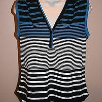 New Womens Red Haute Striped Multi Color Sleeveless Shirt Size S Photo