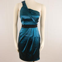 New Womens Short Organza Cocktail Dress Sz 2 188 Nwt Metallic Teal Satin Sheath Photo