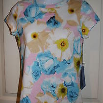 New Womens Simply Vera Vera Wang Blue Pink Yellow Floral Top Shirt Petite Small Photo