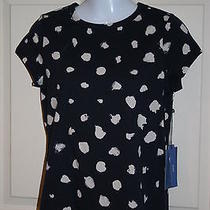 New Womens Simply Vera Vera Wang Navy Blue W White Top Shirt Petite Small Ps Photo
