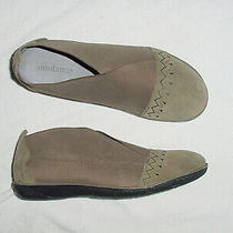 New Womens Sundance Embroidered Bloom Green Suede Stretch Flats Shoes 41 Us 10 M Photo