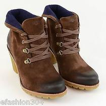 New Womens Ugg Australia Boots 12 Dark Brown Hi Ankle Booties Calynda Fold Shoes Photo