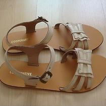 New  Womens Urban Outfitters Cooperative Leather Bow Sandals Cream Size 8 Photo