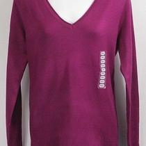 New Womens v Neck Sweater S Small Plum Purple Grace Elements v-Neck Ls Photo
